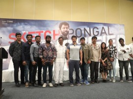 Tamil movie Sketch success meet event held in Chennai. Celebs like Vikram, S Thaman, Sriman and Kalaipuli S Thanu graced the event.