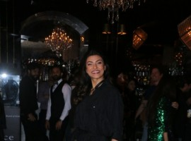 Sushmita Sen poses for a photo as she arrives at the launch of 'Songs of Summer' collection in Bandra, Mumbai.