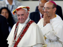 Pope Francis attends a meeting with members of Peruvian indigenous groups, at the Coliseum Madre de Dios, in Puerto Maldonado, Peru.
