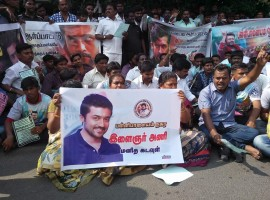 South Indian actor Suriya fans stage protest outside famous TV Channel office over two women anchors who made controversy remarks about the star in a TV programme.