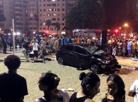 A vehicle that ran over some people at Copacabana beach is seen in Rio de Janeiro, Brazil January 18, 2018. According local media, the driver was detained.