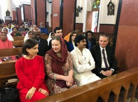 Actor Pawan Kalyan and his wife Anna Lezhneva during a prayer session at a Secunderabad church on Jan 21, 2018.