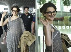 Bollywood Actress Kangana Ranaut looks stunning in silk saree with buns at airport.