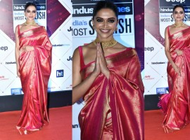 Deepika Padukone strikes a pose as she walks the red carpet at the HT India's Most Stylish Awards 2018 held at Yash Raj Studio in Mumbai on January 24, 2018.