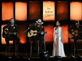 (L-R) Recording artists T.J. Osborne, John Osborne, Maren Morris, and Eric Church perform onstage during the 60th Annual GRAMMY Awards at Madison Square Garden on January 28, 2018 in New York City.
