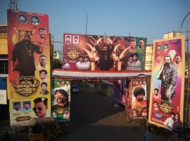 Vijay Sethupathi fans are gearing up for ONNPS with grand banners, cutouts in front of theaters.
