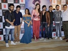 Tanishk Bagchi, Neha Kakkar, Urvashi Rautela and Himesh Reshammiya pose together during Hate Story IV song launch event, held at The View in Mumbai.
