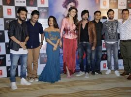 Tanishk Bagchi, Neha Kakkar, Urvashi Rautela and Himesh Reshammiya pose together during Hate Story IV song launch event, held at The View in Mumbai.