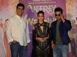 Director Asshu Trikha, actors Pulkit Samrat and Kriti Kharbanda at the trailer launch of their upcoming film