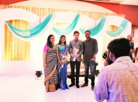 Director Lakshmy Ramakrishnan's daughter Sruthi and Ankit's wedding reception held in Chennai.