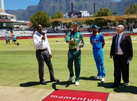 South Africa wins the toss and elects to bowl first in the 3rd ODI against India.