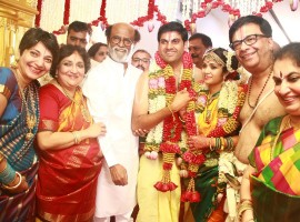 Rajinikanth at YG Mahendra son Harshavardhan wedding in Chennai.