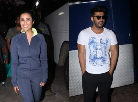 Namastey England pair Arjun Kapoor and Parineeti Chopra spotted at Filmalaya Studio Pvt.Ltd.