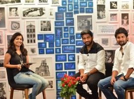 Nani promotes his upcoming Awe movie at Facebook office in Hyderabad.