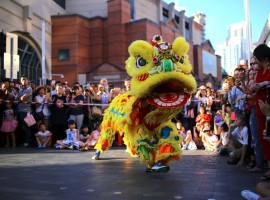 Performers dressed in costumes dance for spectators as part of celebrations for the Chinese Lunar New Year and marking the Year of the Dog in Sydney, Australia.