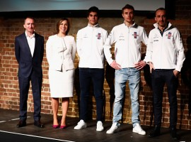 Williams F1, the team including Paddy Lowe, Chief Technical Officer of Williams F1, Williams Deputy Team Principal Claire Williams, Lance Stroll of Canada and Williams, Sergey Sirotkin of Russia and Williams and Robert Kubica of Poland and Williams unveil their new Williams FW41 Formula One car in London, United Kingdom on February 15, 2018.