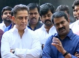 Kamal Haasan meets Naam Tamizhar party leader Seeman in Chennai.