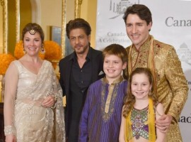 Shah Rukh Khan with Canadian Prime Minister Justin Trudeau and family.