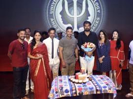 Actor Allu Arjun, Anu Emmanuel celebrate Vakkantham Vamshi birthday on Naa Peru Surya, Naa Illu India sets.
