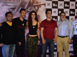 After making a grand entry at Mahalakshmi race course in the morning, Tiger Shroff and Disha Patani launched the trailer of 'Baaghi 2' along with director Ahmed Khan and producers Sajid Nadiadwala and Vijay Singh.