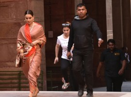 Kangana Ranaut during shooting of her upcoming film at Junagarh Fort in Bikaner.