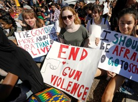 Students who walked out of their Montgomery County, Maryland, schools protest against gun violence in front of the White House in Washington, February 21, 2018.