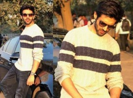 Kartik Aaryan in Cardigan – Nautica, Denim – G Straw Raw, Accessories – The source Bandra.