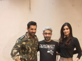 John Abraham and Diana Penty snapped while promoting their upcoming film Parmanu.