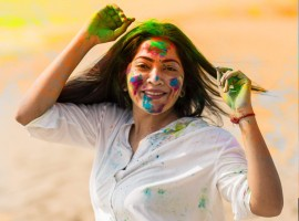 Actress Ramya Subramanian celebrating Holi festival in Chennai.