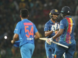 Kusal Perera's brilliant 66 off 37 balls and some crucial contributions from the middle-order helped Sri Lanka beat India by five wickets in the opening match of the Nidahas Trophy Twenty20 International (T20I) cricket tri-series here on Tuesday.
