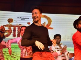 Tiger Shroff performs at the trailer launch of the film Gavthi in Mumbai.