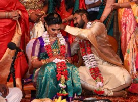 Actor R. Parthiban's Keerthana daughter got married to Sreekar Prasad's son Akshay this morning in a grand wedding ceremony.