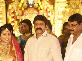 Balakrishna at C Kalyan's son Teja-Naga Sree wedding reception.