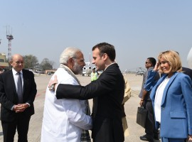 Prime Minister Narendra Modi received French President Emmanuel Macron and his wife here on Monday.