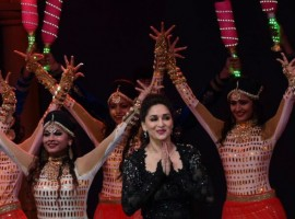 Actress Madhuri Dixit performs during T20 Mumbai Cricket League opening ceremony in Mumbai.