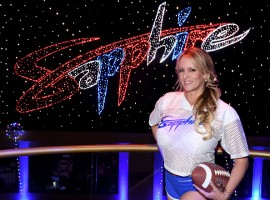 Adult film actress/director Stormy Daniels hosts a Super Bowl party at Sapphire Las Vegas Gentlemen's Club.