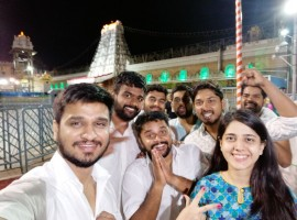 Actor Nikhil Siddharth, Samyuktha Hegde visit Tirumala temple ahead of Kirrak Party's movie release.