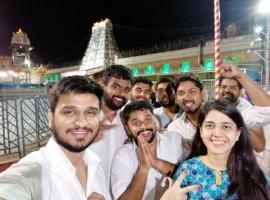 Actor Nikhil Siddharth, Samyuktha Hegde visit Tirumala temple ahead of Kirrak Party's movie release.