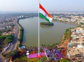 Indian flag hoisted on 110 m (365 feet) high flag post installed at Kote Kere.