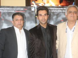 Director Hansal Mehta and actor Rajkummar Rao during the trailer launch of their upcoming film