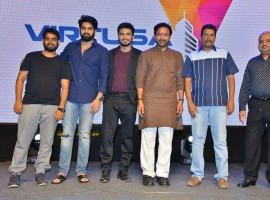 Telugu movie Kirrak Party pre-release event held at Hyderabad. Celebs like Nikhil Siddharth, Simran Pareenja, Samyuktha Hegde, Ramajogayya Sastry, Ajaneesh Loknath, Raja Ravindra and others graced the event.