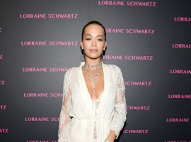 Rita Ora attends Lorraine Schwartz launches The Eye Bangle a new addition to her signature Against Evil Eye Collection at Delilah on March 13, 2018.