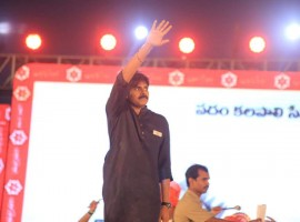 Actor Pawan Kalyan celebrates Jana Sena party formation day in Guntur.