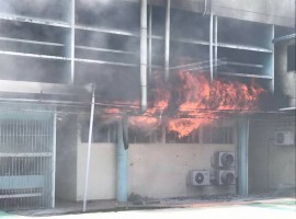 The forensics unit at Hospital Kuala Lumpur caught fire around noon today.