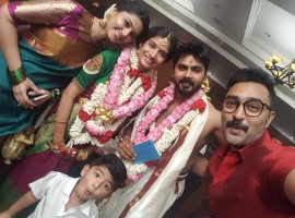 Prasanna with wife Sneha at Ashok Kumar wedding.