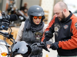 Maryam Ahmed Al-Moalem, a Saudi female bike rider, is given the basics of operating a bike by trainer Rebal Mohammed, during her lessons in advanced motorcycle training at Harley Davidson training centre in Manama, Bahrain, March 16, 2018.