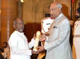 Music maestro Ilayaraja receives Padma Vibhushan from President Ram Nath Kovind at the Civil Investiture Ceremony, at Rashtrapati Bhavan.
