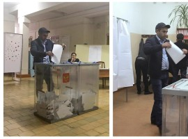A voter casting a ballot at polling station number 216 (L) and approaching a box before casting a ballot at a polling station number 217, during Sunday's presidential election in Ust-Djeguta, Russia. The voter, asked by a Reuters reporter why he was voting for a second time, ignored the question and walked away.