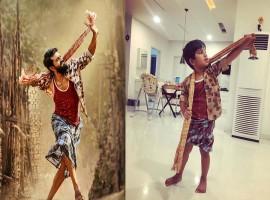 Allu Arjun's little prince Allu Ayaan as Chiiti Babu from Ram Charan's Rangasthalam.