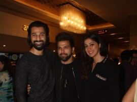 Veer Aryan, Rithvik Dhanjani and Raai Laxmi pose for a photo during Baa Baaa Black Sheep special screening in Mumbai.